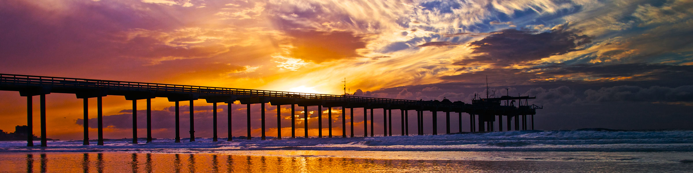 Scripps Pier silhouetted by sunset
